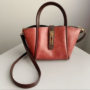Red Copper Faux Leather Crossbody Bag